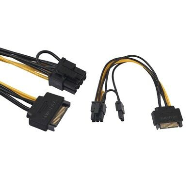 SATA 15Pin Male to Dual 15P Female 90 Degree Y Splitter Adapter Power-Cable S9P8