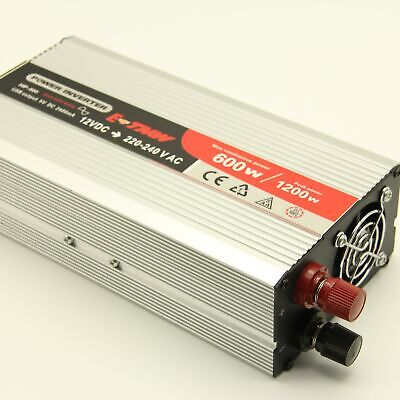 600W/1200W Inverter Pure Sine Wave Power Battery AC DC Boat Caravan Camping