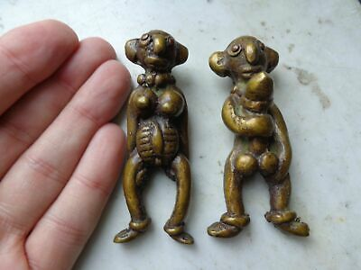 Old Thai Gilt Brass Yab - Yum Ngang Fertility Amulets / Attract Women & Luck
