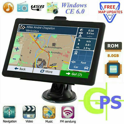 "7"" Truck Car GPS Navigation 8GB Navigator SAT NAV Free UK EU Map Touch Screen FM"
