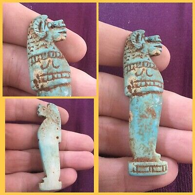 Rare ancient Egyptian blue Pharaoh amulet , 300 bc