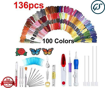 136pcs Magic Embroidery Pen Punch Needle Set Knitting Sewing Tool DIY Crafts