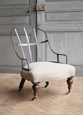 Vintage Antique English 19th Century Deconstructed Iron Back Arm Chair Victorian