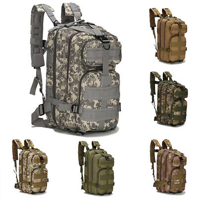 Military Backpack Hiking Camping Bag Army Tactical Trekking Rucksack Camo 30L