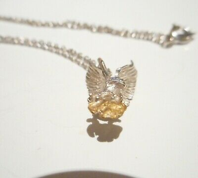 Genuine Australian Gold Nugget On A Sterling Silver Charm Display Necklace No 19