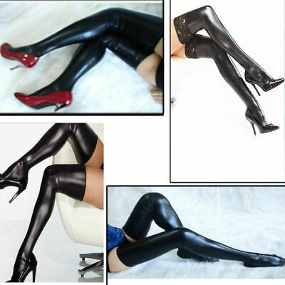 HOT Women Sexy Latex Rubber Stocking Thigh High Tights Hosiery Costume