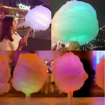 50Pcs LED Cotton Candy Glow Light Up Flashing Cone Floss Fairy Stick Party Fun