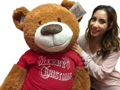 5 Foot Giant Brown Teddy Bear Wears Red Tshirt that says Merry Christmas