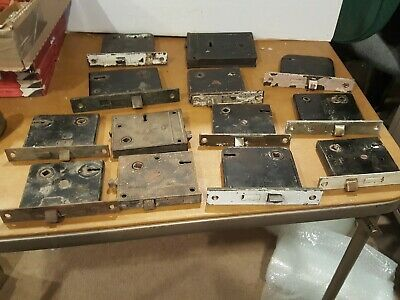 Lot 13 Salvaged Antique Mortise Door Locks Lock Boxes Yale RH As Is Hardware B