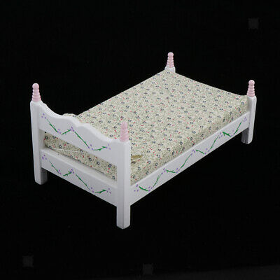 Doll House Miniature Furniture Wooden Princess Single Bed Set for 1:12 Decor