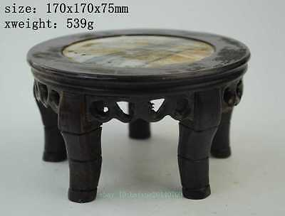 Chinese Hand Carved Rose Wood Marble Top Display Stand / Wood Stand c01