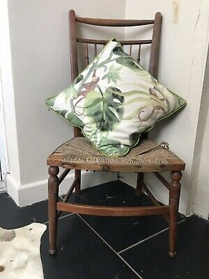 Antique Victorian Morris Style Vintage Rustic Arts & Crafts Rush Seat Chair