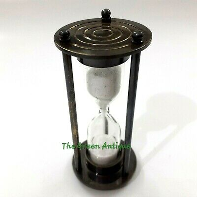 Antique Nautical Brass Mini Sand Timer Collectible Gift
