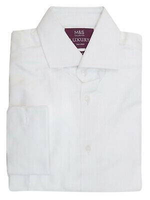 EX M&S WHITE MENS Pure Cotton Tailored Fit Long Sleeve Luxury Shirt - RRP £45