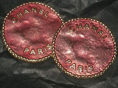 Chanel Paris 2 Cc  Matte Gold 18 Mm Metal Mauve Pink  Buttons This Is For 2