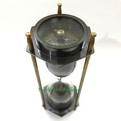 Antique Nautical Brass Sand Timer Both Side Compass Collectible Marine Gift