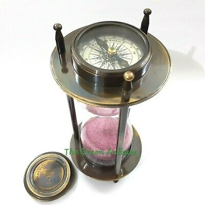 Antique Nautical Brass Sand Timer Both Side Compass Collectible Gift