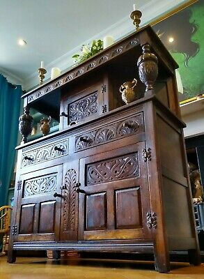 Victorian Antique Oak Sideboard in Jacobean Style Hand Carvings - Very Detailed