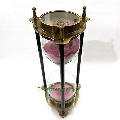 Nautical Brass Sand Timer Antique Both Side Compass Collectible Marine Gift