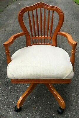 Vintage Solid Wood Swivel Bankers Lawyer Doctor Office Chair - Nice!!