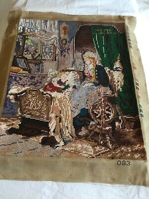 Vintage Completed Unframed Tapestry 50cm x 40cm Lady With Spinning Wheel