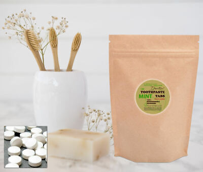 100% Natural Solid Mint Toothpaste Tablets - PlanetWood Dentin Made by DENTTABS