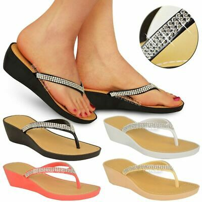 Womens Wedge Heel Flip Flops Sandals Diamante Sparkly Ladies Toe Post Shoes 3-9