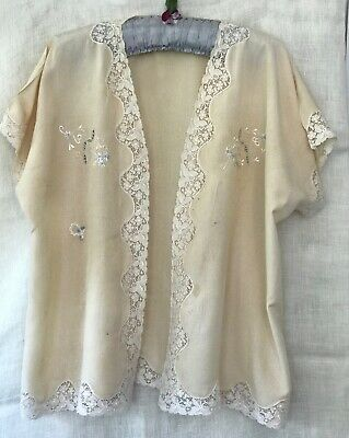 VINTAGE 1920s-30s SILK BED JACKET / DRESSING SACQUE, LACE TRIM, EMBROIDERY