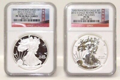 2012 S San Francisco Set NGC PF70 Ultra Cameo American Silver Eagles C7152