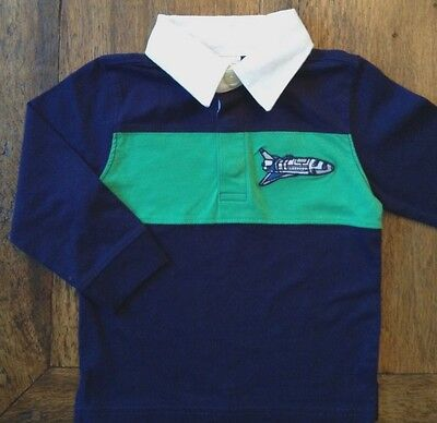 Gymboree 6-12 Months Space Shuttle Ship Rugby Shirt Blue Green Boys 12M