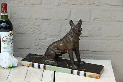 Antique ART DECO 1930 Spelter bronze german sheperd dog marble base statue