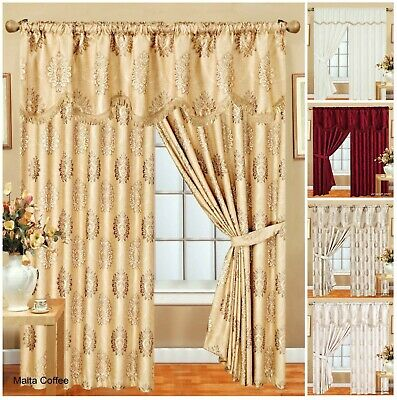 Glittery Curtains Pair Jacquard With Pelmet+Tieback Fully Lined Pencil Pleat