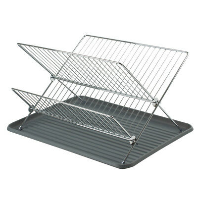 Modern Collapsible Folding Metal Kitchen Dish Drainer Plate Draining Board Rack