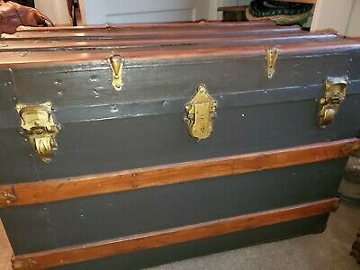 1800's Flat Top Steamer Trunk with Solid Oak Trim