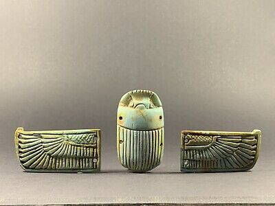 Stunning Ancient Egyptian Faience Winged Scarab W/ Hieroglyphs Circa 990-332Bc