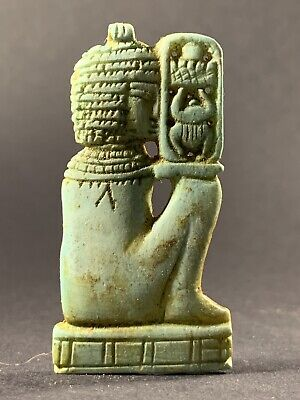 Ancient Egyptian Faience Seshat Holding Cartouche W/ Hieroglyphs Circa 990-332Bc