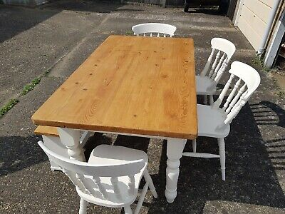 rustic solid pine farmhouse kitchen dining table and chairs bench set