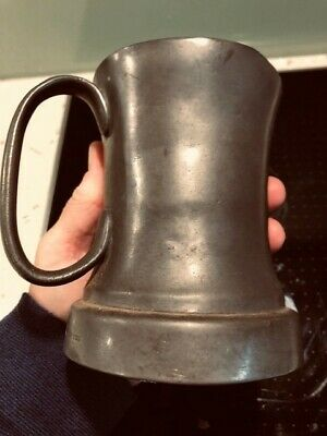 Antique solid pewter tankard