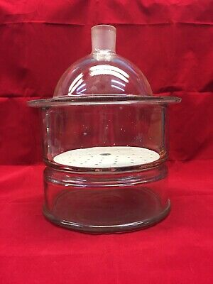 Vintage Pyrex Heavy Duty Glass Vacuum Desiccator with Ceramic Plate - Complete
