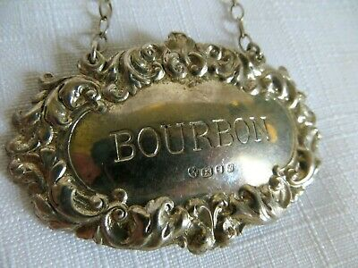 Vintage Sterling Silver English Ornate Bourbon DecanterTag