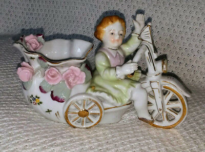 Antique Porcelain VASE Girl Tricycle CAPODIMONTE Bicycle Figurine Camille Naudot