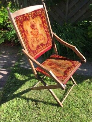 Antique Hardwood Folding Campaign Chair - All Original