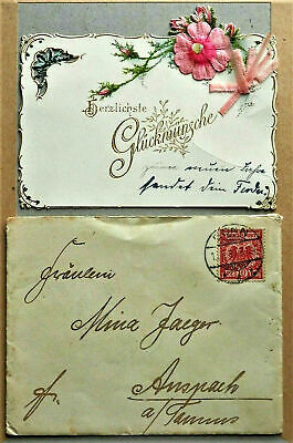 1899 Antique Pre Ww1 Old Real German Cover With Greeting Card Rare Vf