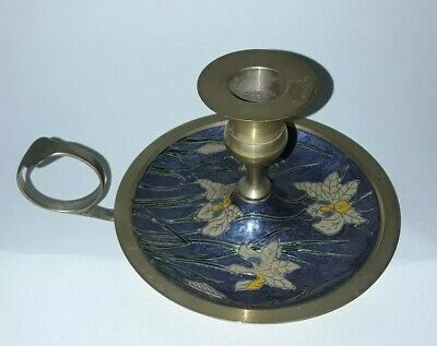 Brass and enamel painted candle holder