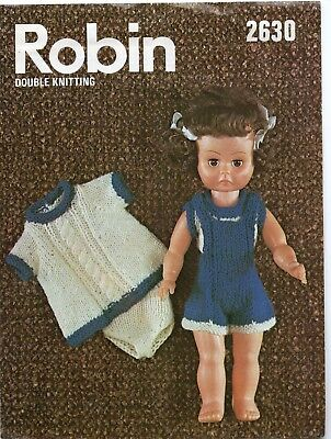 "Vintage Clothes Double Knitting Pattern Robin 2630 14""  Doll Clothes"
