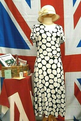 Retro Vintage 1940`s wartime style land girl polka dot dress size 18