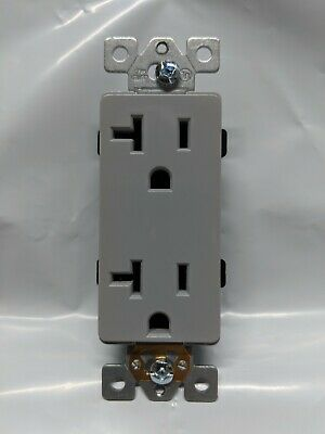 (10 pc) Decorator Duplex 20A Receptacles 20 Amp Outlets GRAY Self Grounding