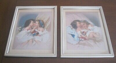 2 Vintage Victorian Color Chromo Lithographs Two Girls Kissing Sleeping