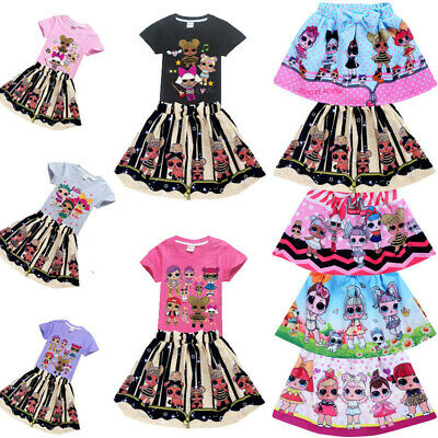 Kids Girls Lol Surprise Dolls Festival Party Dresses T Shirt Tutu Skirts Sets UK