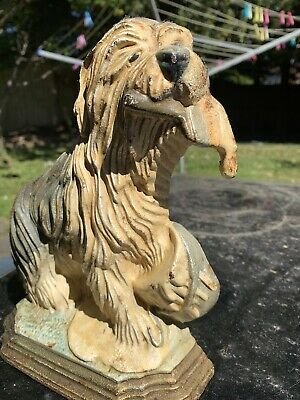 Rare Vintage Dulux Dog Cast Iron Doorstop Old English Sheep Dog